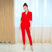 Load image into Gallery viewer, 2019  Women Slim Suit Pants Set Elegant Solid Double Breasted Work Blazer + Ankle Length Pant