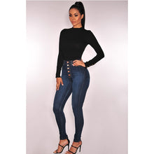 Load image into Gallery viewer, Women's High Waist Skinny Vintage Button Fly Stretch Denim Jeans