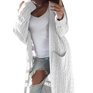 Women's Pocket Long Sleeve Long Cardigan Sweater  4 colors