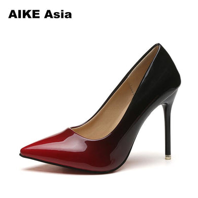 Women pumps Fashion pointed toe patent leather stiletto high heels shoes Wedding Shoes