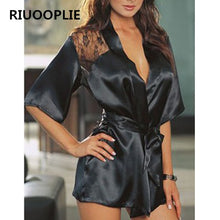 Load image into Gallery viewer, Women's Sexy Lingerie Satin Lace Black Kimono Robe