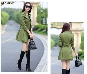 Women Spring Double-Breasted Long Trench Coat Overcoat
