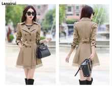 Load image into Gallery viewer, Women Spring Double-Breasted Long Trench Coat Overcoat