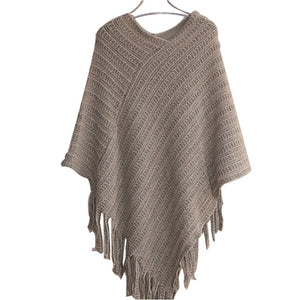 Shawl Scarf Sweater Striped Tassel Irregular V-neck Sweater Pullover Elegant Poncho Thickening Women