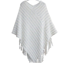 Load image into Gallery viewer, Shawl Scarf Sweater Striped Tassel Irregular V-neck Sweater Pullover Elegant Poncho Thickening Women