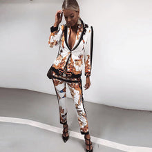 Load image into Gallery viewer, High Street Two Pieces Set Blazer with Nine Pants Retro Print Lion Single One Button Coat Ladies Runway Party Women's Suit Cloth