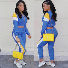 Load image into Gallery viewer, Adogirl Color Patchwork Women's Casual Two Piece  Crop Jacket Top + Sweat Pants