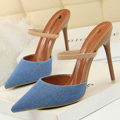 High Heels Denim Lace Up Pointed Toe Stilettos Shoes