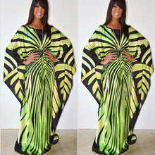 Load image into Gallery viewer, African  South American inspired Women's Print Pattern Long Sleeve Zebra Striped Bat Sleeves Dress
