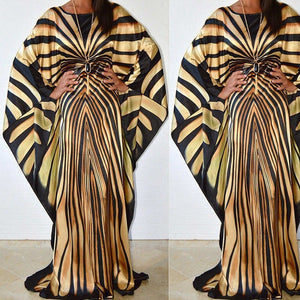African  South American inspired Women's Print Pattern Long Sleeve Zebra Striped Bat Sleeves Dress