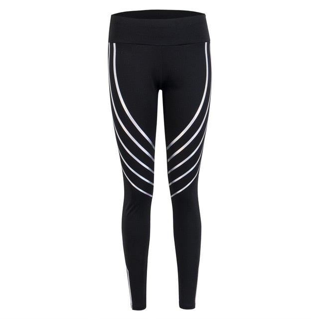 Women Casual Comfortable Breathable Skinny Stretch High Waist Pants Female Reflective Striped