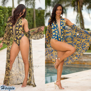 Sexy Deep V-Neck Halter Print One Piece Swimsuits