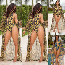 Load image into Gallery viewer, Sexy Deep V-Neck Halter Print One Piece Swimsuits