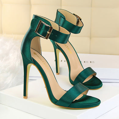 Women's Metal Belt Buckle High Heel Open Toe Sandals