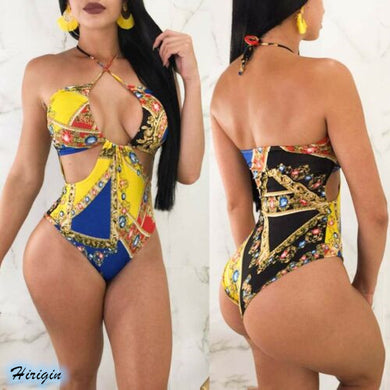 Women's Sexy Print V-Neck One-Piece Swimsuit