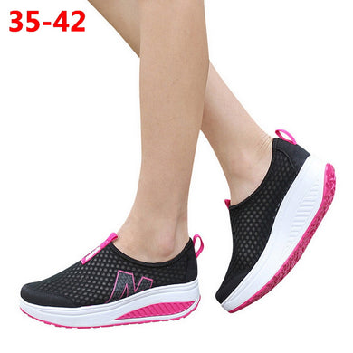 Breathable Air Mesh Wedge  Sneakers