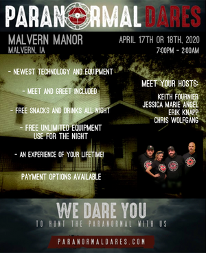 Ghost Hunt - Malvern Manor - April 18, 2020