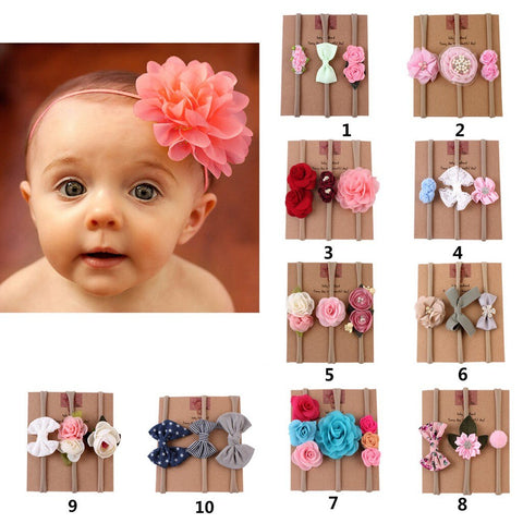3Pcs/set Kids Infant Baby Girls Headband Flower - Gianni&Guys Closet