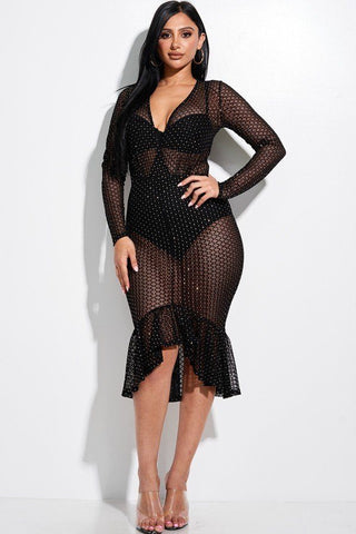 Diamond Burnout Mesh Long Sleeve Mermaid Midi Dress With Panty Lining - Gianni&Guys Closet
