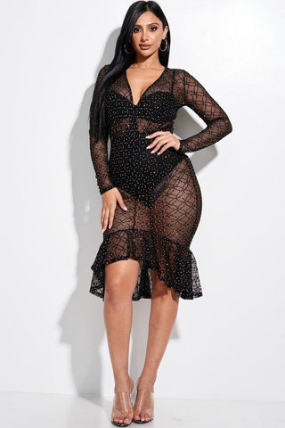 Embellished Burnout Mesh Long Sleeve Mermaid Midi Dress With Panty Lining - Gianni&Guys Closet