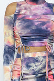 Tie Dye Open Shoulder Long Sleeve Top And Matching Skirt W Ruching Details - Gianni&Guys Closet