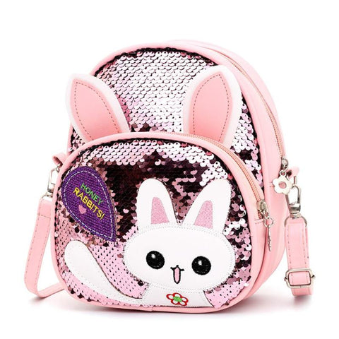 Girls Casual Small Cute Cartoon Rabbit Ear Sequins Backpack - Gianni&Guys Closet