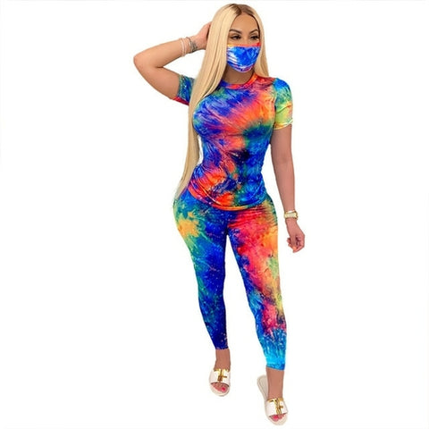 Tie Dye Pants Set With Mask - Gianni&Guys Closet