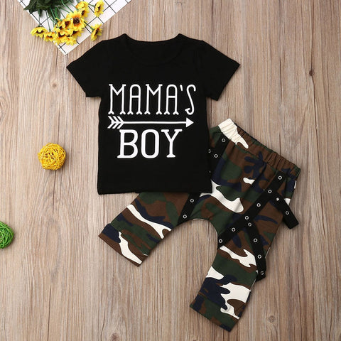 Toddler Boys Clothes Set Letter T Shirt + Camouflage Chain Pants - Gianni&Guys Closet