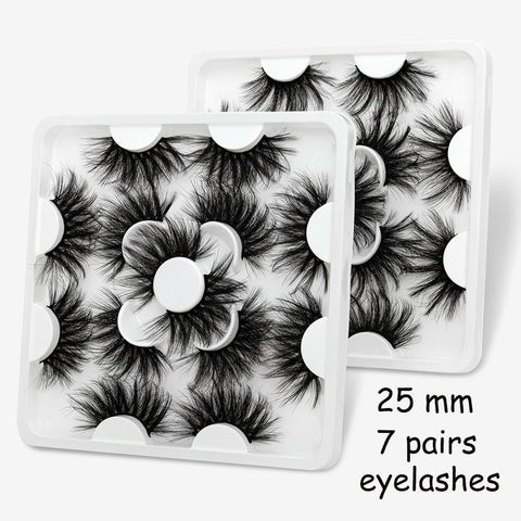 5/7 Pairs 3D Mink lashes 25mm Dramatic/Thick Long - Gianni&Guys Closet