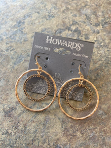 Gold, stone circle earrings