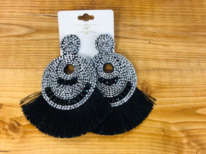 Fan Tassel and Beaded Earrings