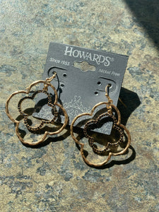 Gold, stone geometric earrings