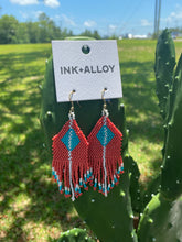 Load image into Gallery viewer, Pink/Blue Beaded Fringe Earring