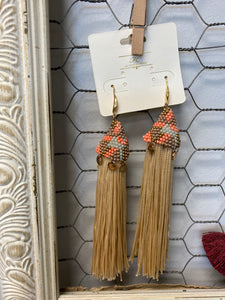 Bead Cap Tassel Earrings