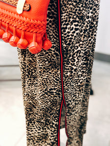 Side Slit Mid-Length Cheetah Skirt