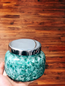 Mint Watercolor Volcano Candle