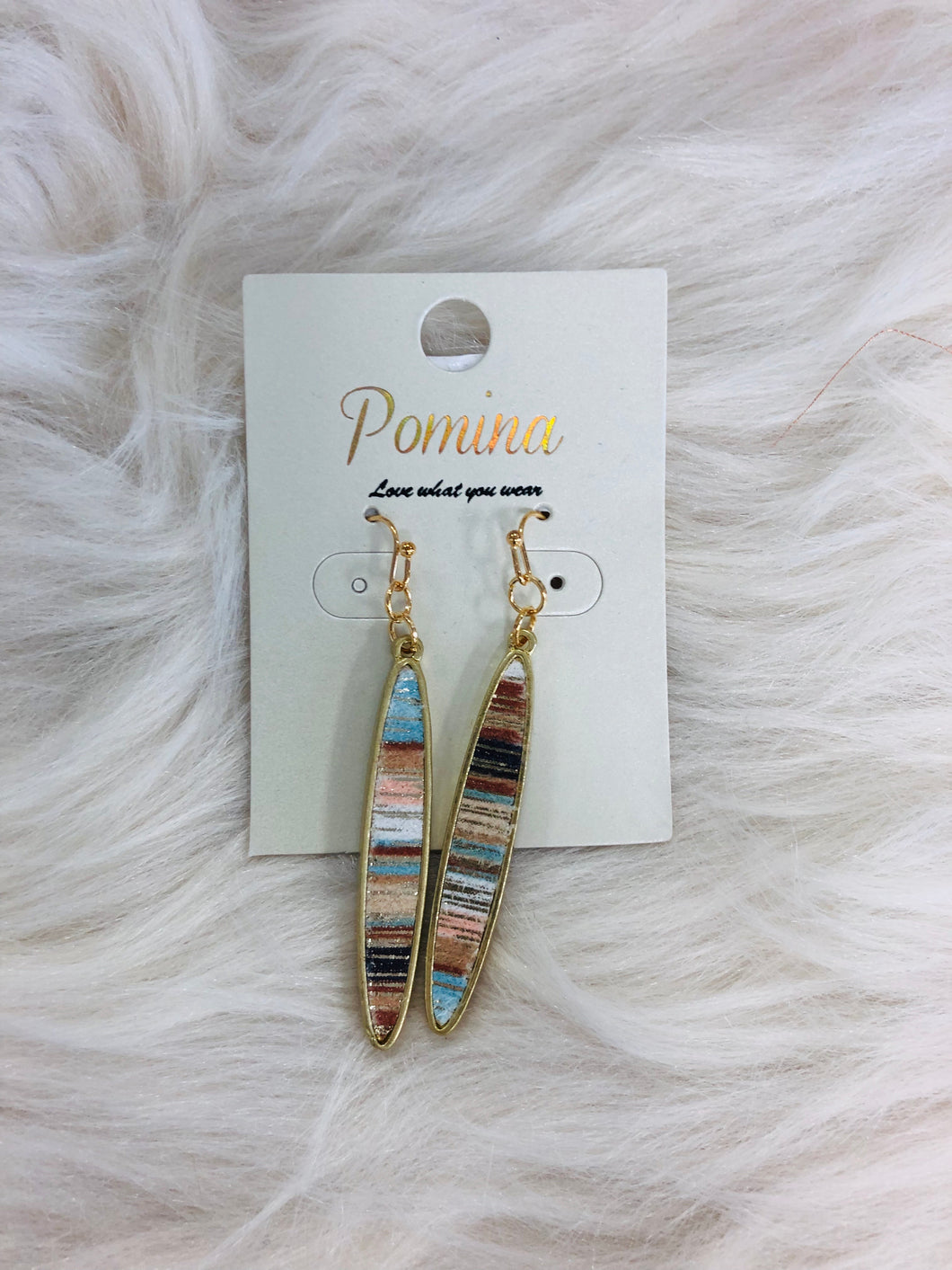 Leather Narrow Oval Earrings