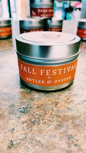 Antler & Oyster Tin Candles—Fall Scents