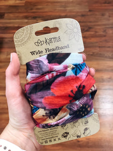 Watercolor Floral Wide Headband