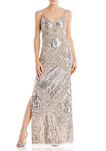 Aidan Mattox - V-neck Beaded Gown - Tender Rose Boutique