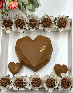 Chocolate heart box with flowers