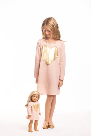 Matching Girl & Doll Gold Heart Tunic