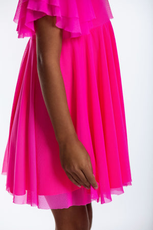 Matching Girl & Doll Neon Pink Party Twirl Dress