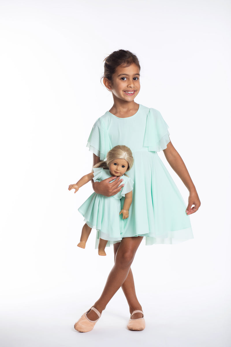 Matching Girl & Doll Turquoise Party Twirl Dress