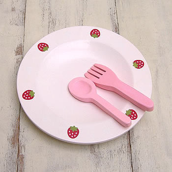 Mother Garden Playing House Utensil Fork, Spoon and Plate