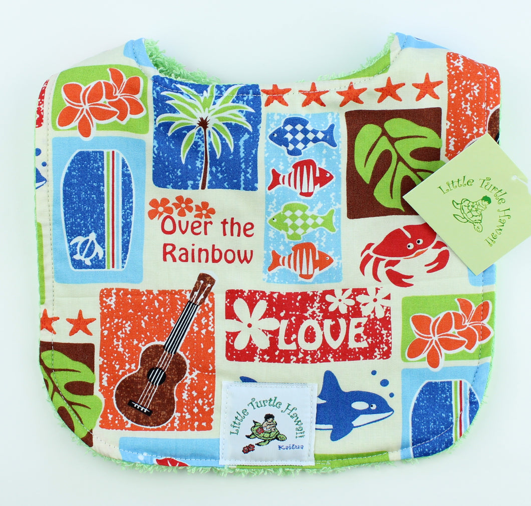 Hawaiian Baby Bib: Love Aloha Green