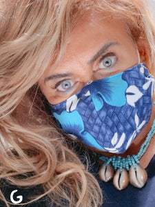 Face Mask, Reversible, Breathable Cotton Hawaiian Print, Reusable Face Mask: Surfer Blue Hawaiian