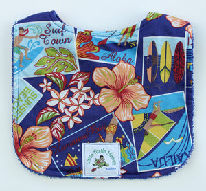 Hawaiian Baby Bib: Surf Town Blue