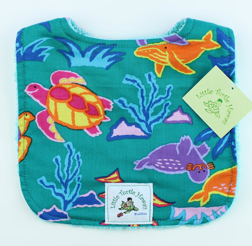 Hawaiian Baby Bib: Water Babies Teal