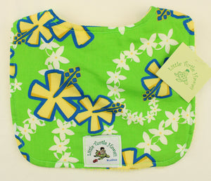 Hawaiian Baby Bib: Lei Aloha Lime Green
